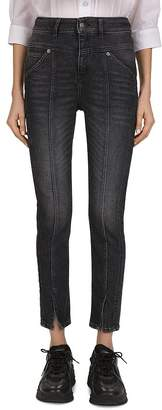 The Kooples High-Rise Cropped Slim-Leg Jeans in Black Washed