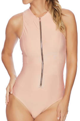 Next One-Piece Malibu Tank Removable Soft Cup Zip Swimsuit