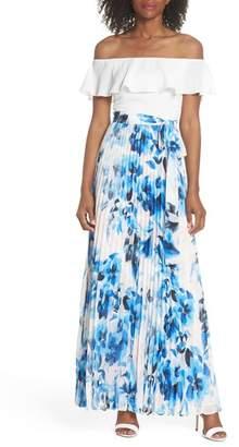Eliza J Ruffle Off the Shoulder Maxi Dress