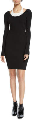 Alexander Wang Fitted Long-Sleeve Layered Viscose Short Dress