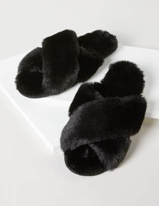 Lane Bryant Fuzzy Slide Slippers