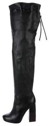 Lanvin Leather Over-The-Knee Boots Black Leather Over-The-Knee Boots