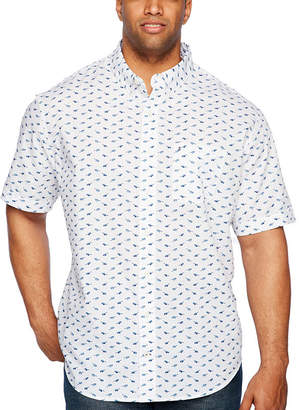 Izod Printed Sunglasses Breeze Shirt Short Sleeve Star Button-Front Shirt-Big and Tall