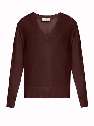 Raey V Neck Fine Knit Cashmere Sweater - Womens - Burgundy