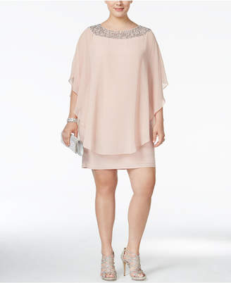 Xscape Evenings Plus Size Beaded Chiffon Capelet Dress