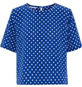 Equipment Brynn Polka-Dot Washed-Silk Blouse