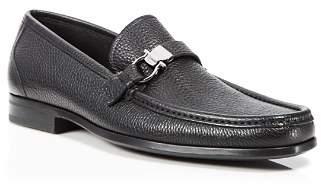 Salvatore Ferragamo Men's Muller Textured Leather Moc Toe Loafers