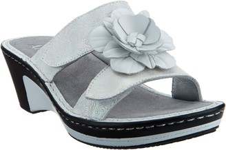 Alegria Leather Wedge Sandals w/Flower Detail - Lana