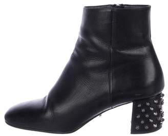 Prada Leather Square-Toe Ankle Boots Black Leather Square-Toe Ankle Boots