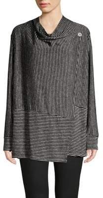 Jones New York Waffle-Knit Striped Wrap Cardigan