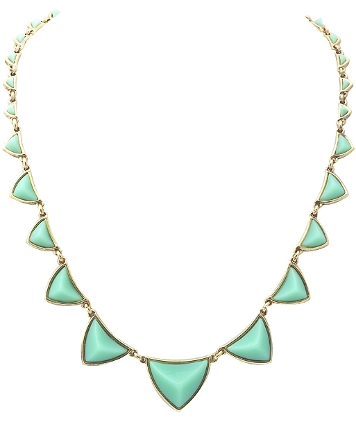 House of Harlow 1960 Pyramid Station Necklace in Mint Green