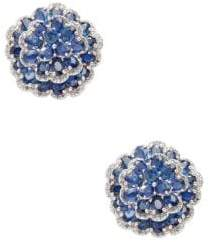 Silver, Sapphire & Champagne Diamond Stud Earrings