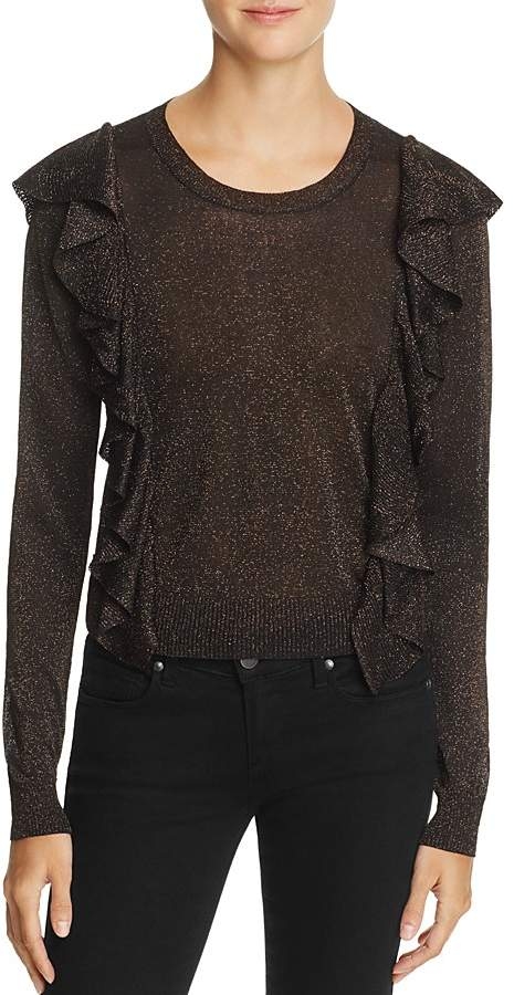 Rebecca Minkoff Lou Ruffled-Shoulder Sparkle Sweater