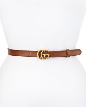 Gucci Thin GG Leather Belt, Brown $330 thestylecure.com