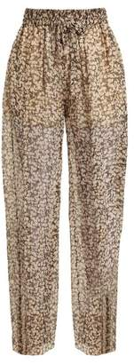Zimmermann Prima Cherry Silk Georgette Trousers - Womens - Black Multi