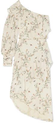 Johanna Ortiz Garden Isle Ruffled One-shoulder Printed Silk Crepe De Chine Midi Dress - White
