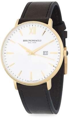 Bruno Magli Men's Gold Ion Plated Slim Case Leather Strap Watch