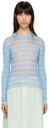 Acne Studios Blue and Green Ribbed Rutmar Sweater