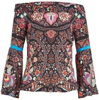 Etro Off-Shoulder Printed Silk Blouse