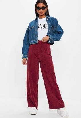 Missguided Burgandy Cord Wide Leg Pants