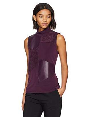 Calvin Klein Women's Sleeveless TOP with PU and Suede