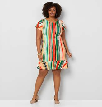 Avenue Vertical Stripe Flutter Hem Dress