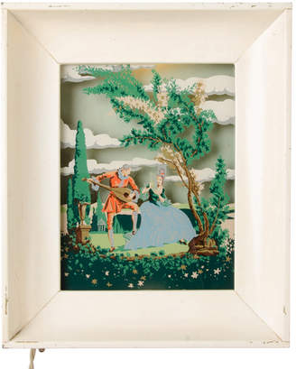 Rejuvenation Illuminated Reverse Painted Diorama w/ Lovers in Garden