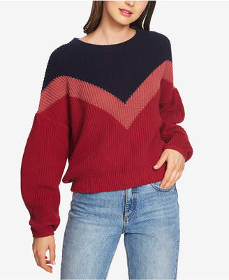1 STATE 1.state Cotton Chevron-Colorblocked Crew-Neck Sweater
