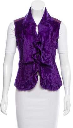 Oscar de la Renta Fur Ostrich-Paneled Vest w/ Tags