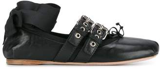Miu Miu Black Leather Double Buckle ballerina flats