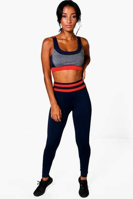 boohoo Alice Fit Contrast Panel High Waisted Running Leggings