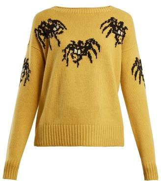 Prada Spider-intarsia wool and cashmere-blend sweater