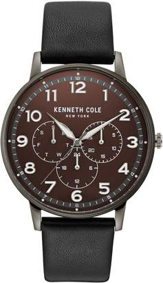 Kenneth Cole New York Dress Sport Gunmetal-Tone Stainless Steel Leather-Strap Watch