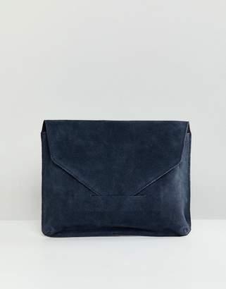 At Asos Design Suede Tuck Front Clutch Bag