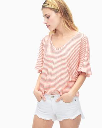 Splendid Linen Mini Stripe V-Neck Top