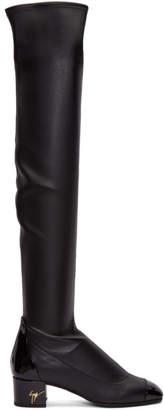 Giuseppe Zanotti Black Leather Quad Over-the-Knee Boots