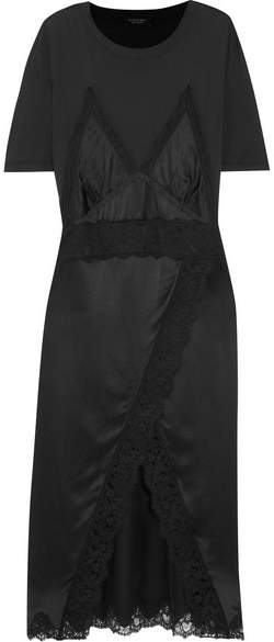 Burberry - Lace-trimmed Silk-satin And Cotton-jersey Midi Dress - Black