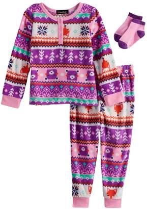 Cuddl Duds Toddler Girl Fairisle Fox Fleece Top & Bottoms Pajama Set with Socks