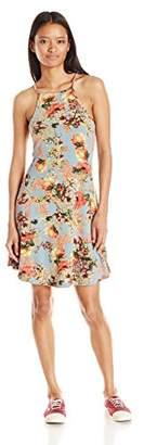 Angie Women's Floral Print High Neck Spaghetti Strap Dress