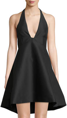 Halston Plunging Structured Halter-Neck Dress