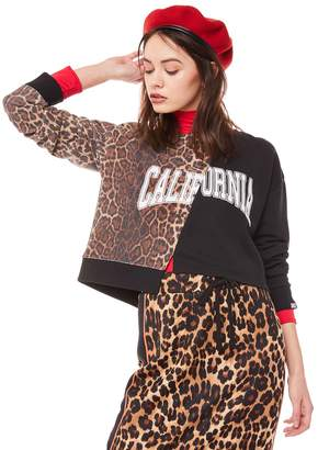 Juicy Couture Jxjc Cali Leopard Split Logo Terry Pullover