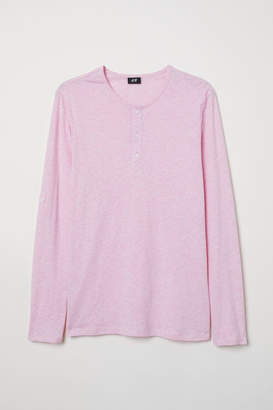 H&M Cotton Jersey Henley Shirt - Pink