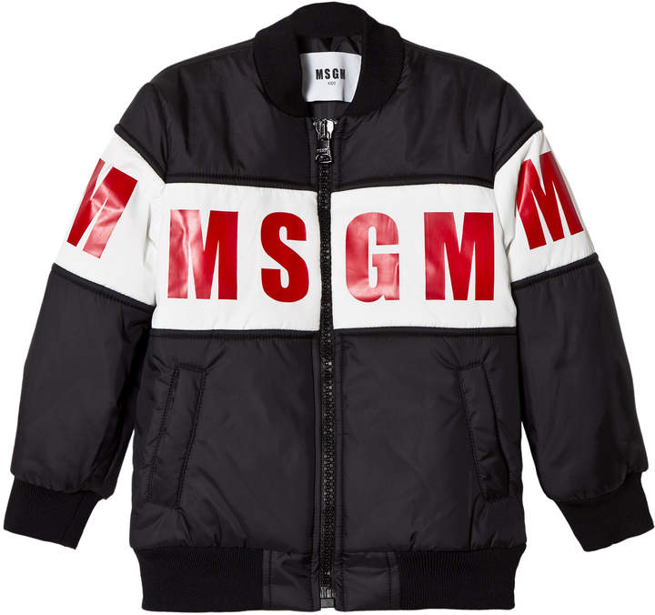 Msgm Black and Red Logo Bomber Jacket
