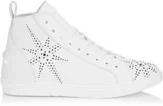Jimmy Choo COLT White Sport Calf Leather High Top Trainer with Black Star Preforation
