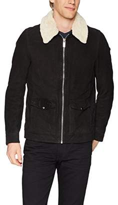 Scotch & Soda Men's Easy Short Leather Jacket with Detachable Teddy Collar