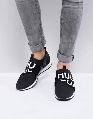 HUGO Reverse Logo Running Sneakers in Black