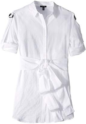 Kenneth Cole New York Wrap Button Down Tunic Women's Blouse