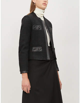 Claudie Pierlot Vadrouille leather-trimmed tweed jacket