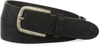 Joe's Jeans Pin-Dot Textured Leather Belt, Black