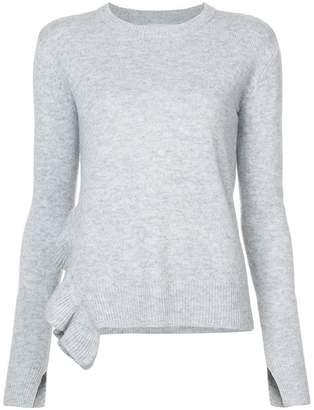Derek Lam 10 Crosby Asymmetrical Hem Sweater With Ruffle Detail